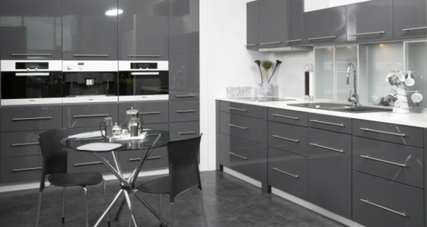 Charcoal grey high gloss PVC Kitchen Gurteen Kitchens Gurteen Knock