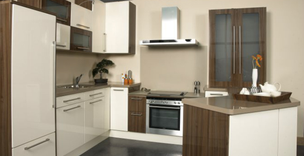 Cream high gloss Walnut high gloss PVC Kitchen Gurteen Kitchens