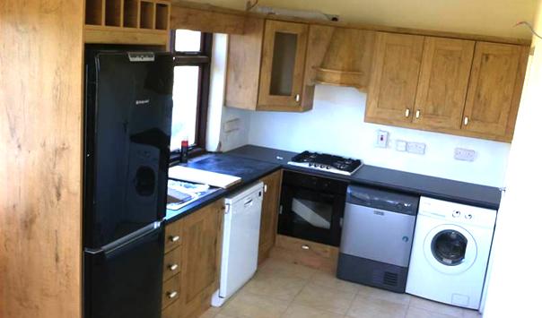 Oak PVC  Kitchen with an Oak PVC shaker door, Knock, Co. Mayo, Ireland